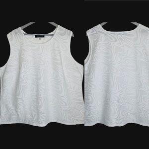 Kasper White Lace Overlay Sleeveless Top Plus 3X